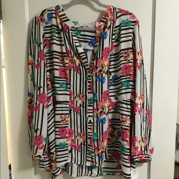 Notations striped floral blouse NWT